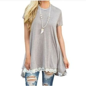 Tops - Long Tee with Lace Trim